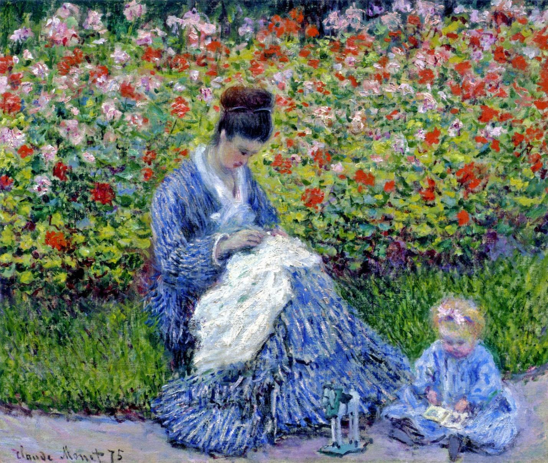 Клод Моне Мадам Моне с ребенком в саду